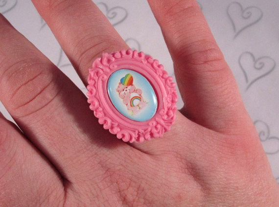 Pink Care Bear Cameo Ring on Gold Base - ON HOLD for GingerGM