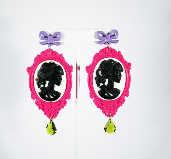 Hot Pink Skeleton Goddess Cameo Earrings with Swarovski Crystal Accents