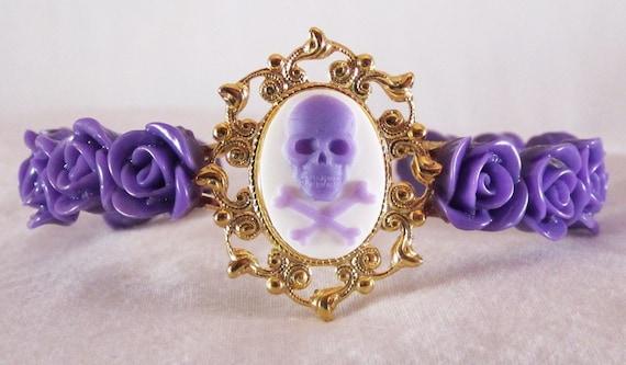 Punk Purple Skull Cameo Gold Cuff Bracelet with Matching Purple Roses