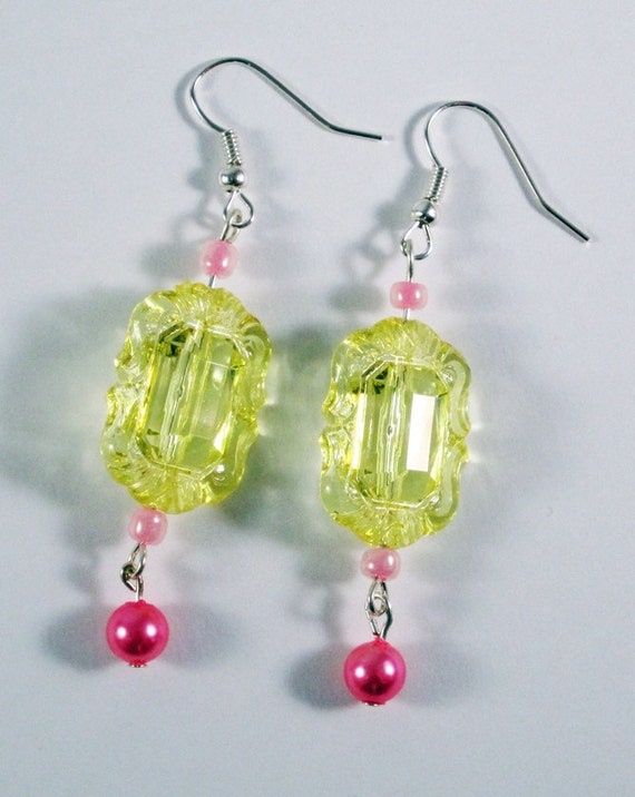 ON SALE - Baroque Canary Yellow Dangle Earrings with Baby Pink Beads
