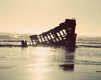 Beach Photography, beach, Oregon coast, The Shipwreck, 8x10 matted metallic print