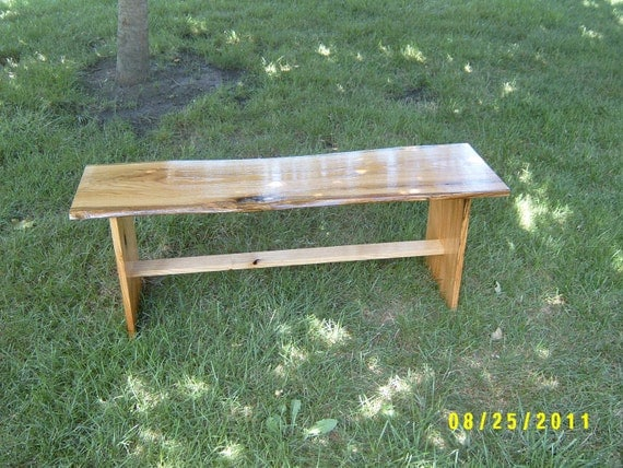 wooden bench natural edge red oak salvaged furniture coffee table