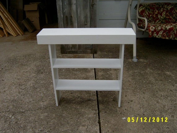 Wooden bench tall bench console narrow by wayneswoodworking Narrow entry bench