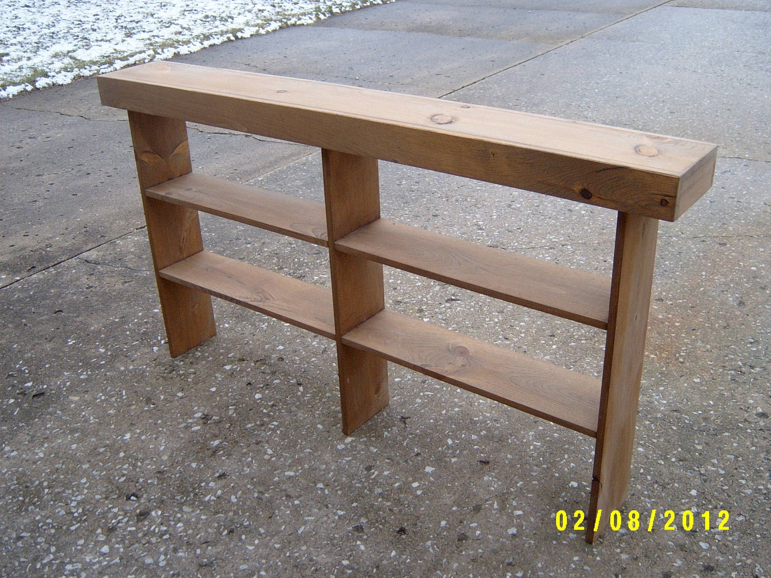 Wooden console sofa table entryway table by wayneswoodworking Narrow entry bench