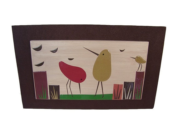 Whimsical Bird Abstract Wall Art Mid century Inspired