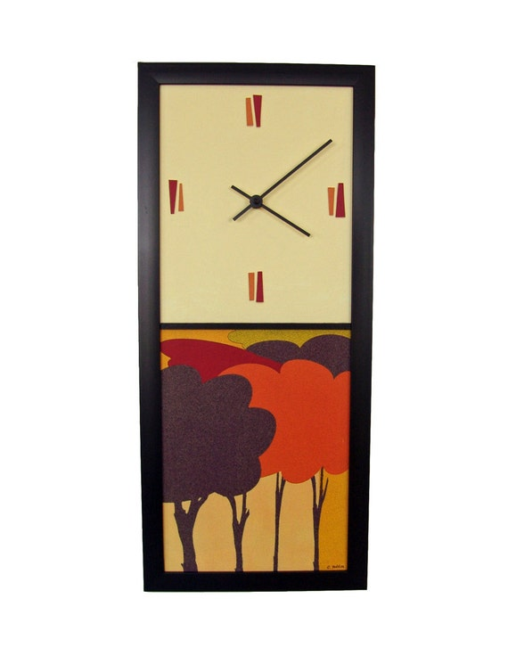 modern wall clock trees mid century by coolstuffartgallery