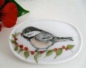 Porcelain brooch chickadee  hand painted