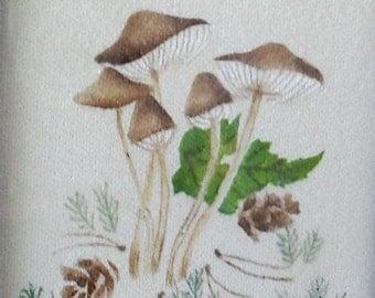 Theorem painting of mushrooms, moss, pinecones