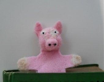 Pig bookmark needle felted