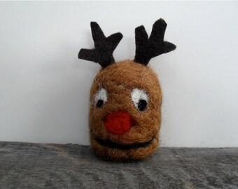 Cat toy catnip Reindeer head, needle felted