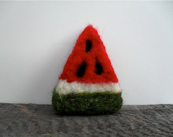 Catnip Cat toy watermelon slice, needle felted