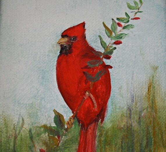 Framed original oil painting cardinal