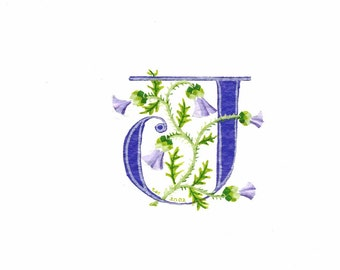Initial letter 'J' in purple with thistles custom initial handmade letter.