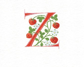 Initial letter 'Z' in red with strawberries custom birthday initials.