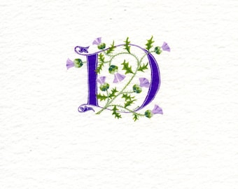 Initial letter 'D' in purple with Scots thistles custom initial handmade letter.
