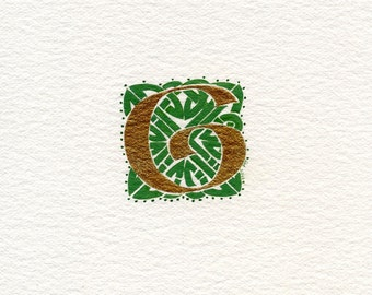 Celtic letter 'G' within a green knotwork square Celtic Irish Birthday gift .