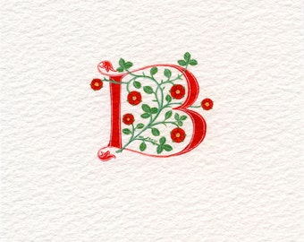 Initial letter 'B' handpainted in red with heraldic roses..