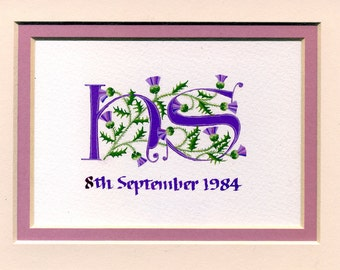 Initial letters in purple with Scots thistles handmade wedding Anniversary personalized gift