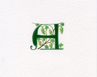 Manuscript initial letter 'A' in green with grapes custom initial handmade initials