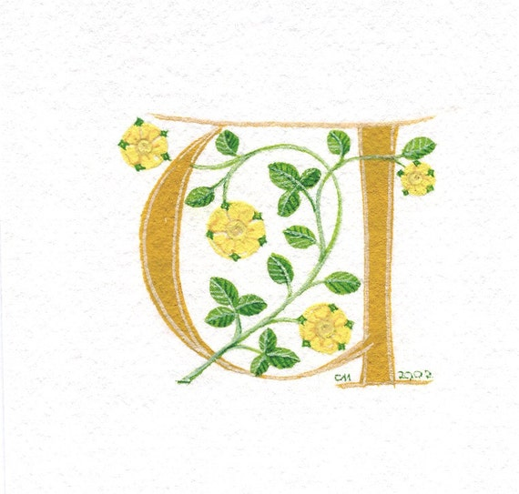 Initial letter 'U' in dark yellow with heraldic roses special birthday gift.