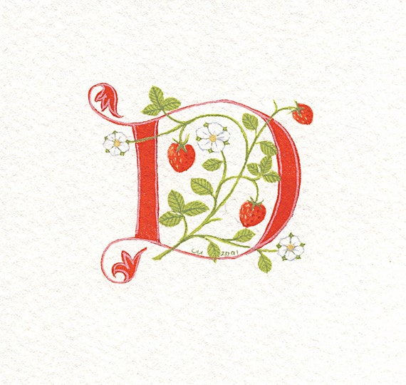 Initial letter 'D' in red with strawberries flowers and leaves summer birthday gift