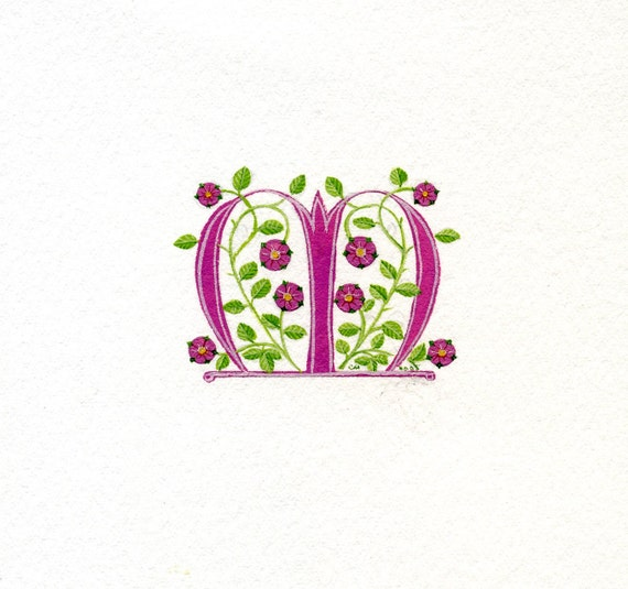 Manuscript initial letter M handpainted in pink with heraldic roses on watercolor paper.
