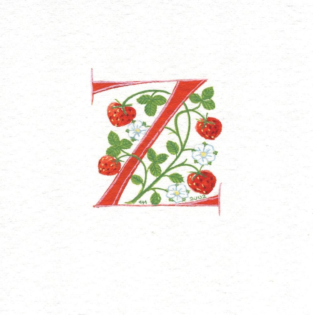 Illuminated Letter Z Initial letter 'z' handpainted