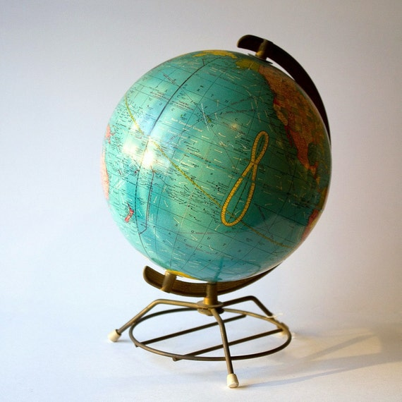 Vintage Crams Terrestrial World Globe With RARE Currents and Brass Wire Base 10 inch