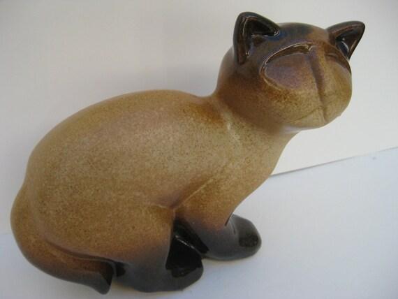 Stylized Mid Century Modern Siamese Ceramic Cat