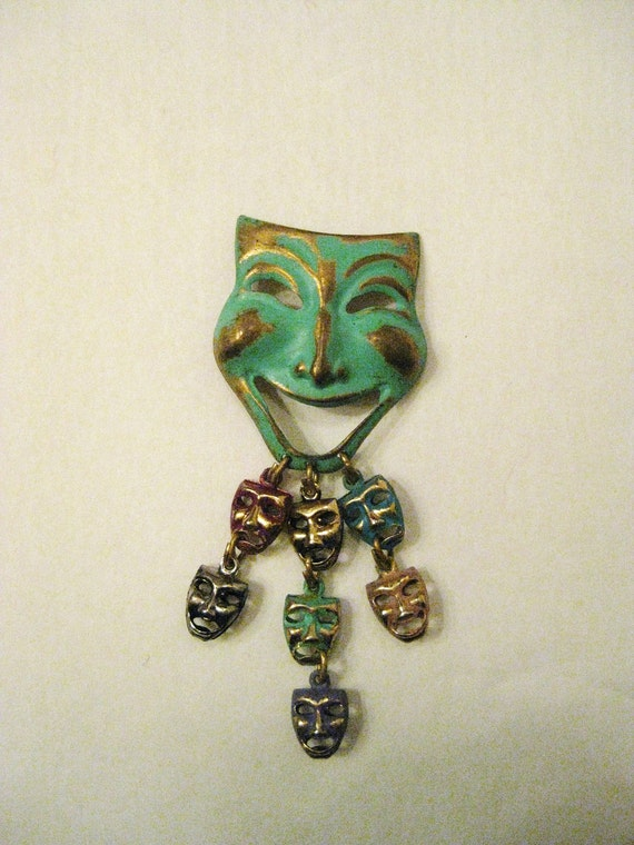 Vintage Comedy Tragedy Theater Mask Brooch Pin in Brass Patina