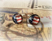 Vintage U.S. FLAG CUFFLINKS silver plated 15mm glass Perfect for your hubby, dad, son, or wedding