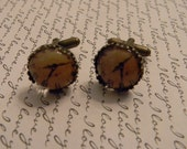 Vintage Inspired ANTIQUE CLOCK CUFFLINKS in Bronze Crown Setting