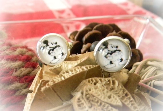 MICKEY MOUSE CUFFLINKS (perfect for hubby, son, groom, or wedding party gifts) 15 mm Silver Plated