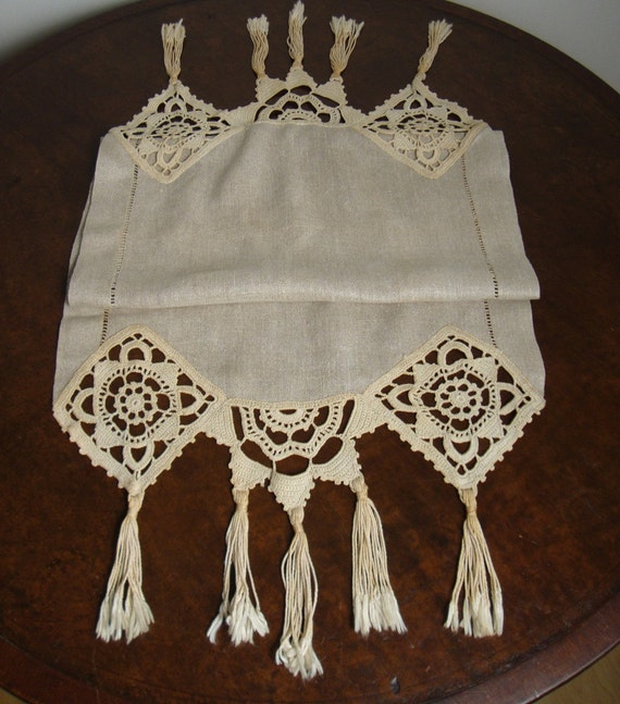 RESERVED for Debbie: Circa 1910 Natural Colored LinenTable Runner with Crochet Edging