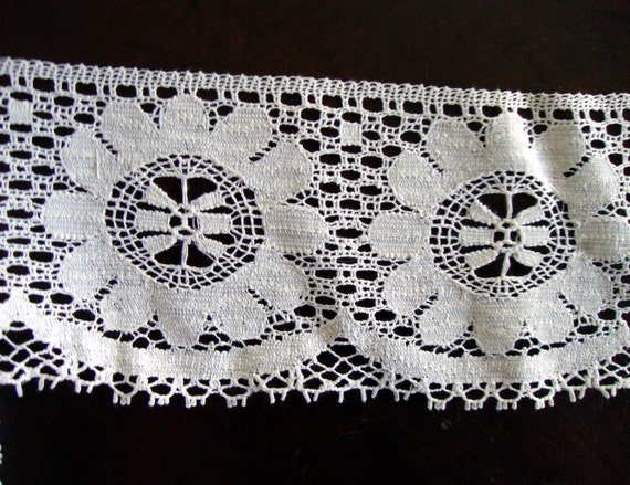 4 inch Wide White Cotton Lace Edging