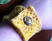 Hand Knit Woven Wool Bracelet in Sunset Yellow