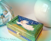 Christening gifts, Wooden small jewelry  box for baby, special keepsakes box, to remember your baby's first years MADE TO ORDER