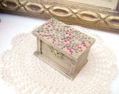 Jewelry box Farmhouse Wedding Ring  Box, Hand painted  branches, Shabby Chic, Old fashioned, Rustic