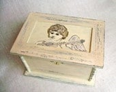 Tea Box-Jewelry Keepsakes Trinket Treasure Box-Shabby Chic-Vintage style -Angel-Wooden Box-Rustic