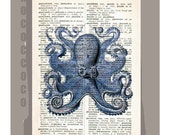 Featured on Apartment Therapy - Blue OCTOPUS -ARTWORK  printed on Repurposed Vintage Dictionary page -Upcycled Book Print