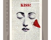 Big KISS - ORIGINAL ARTWORK  printed on Repurposed Vintage Dictionary page -Upcycled Book Print