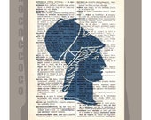 Antique Greek SILHOUETTEin Blue- ORIGINAL ARTWORK  printed on Repurposed Vintage Dictionary page -Upcycled Book Print