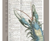 Beautiful Blue LOBSTER  - ARTWORK  printed on Repurposed Vintage Dictionary page 8 x11 -Upcycled Book Print
