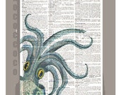 Big Blue OCTOPUS- ARTWORK  printed on Repurposed Vintage Dictionary page-8 x 10 -Upcycled Book Print