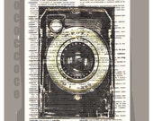SMILE-Vintage Camera - ORIGINAL ARTWORK  printed on Repurposed Vintage Dictionary page -Upcycled Book Print