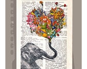 Happy Elephant with Flowers - Wall decor Unique Gift Mothers Day gift - Elephant wall hanging - Printed on dictionary page