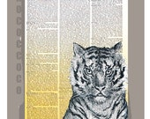 TIGER -ORIGINAL ARTWORK printed on Repurposed Vintage Dictionary page 8x10 -Upcycled Book Print