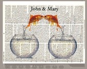 Two gold fishes in Love -ORIGINAL personalized ARTWORK  printed on Repurposed Vintage Dictionary page 8x10 -Upcycled Book Print