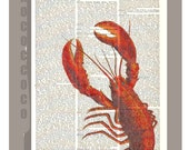LOBSTER  - ARTWORK  printed on Repurposed Vintage Dictionary page 8 x 10 -Upcycled Book Print