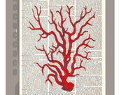 Red CORAL6 -ARTWORK  printed on Repurposed Vintage Dictionary page 8 x 10 -Upcycled Book Print